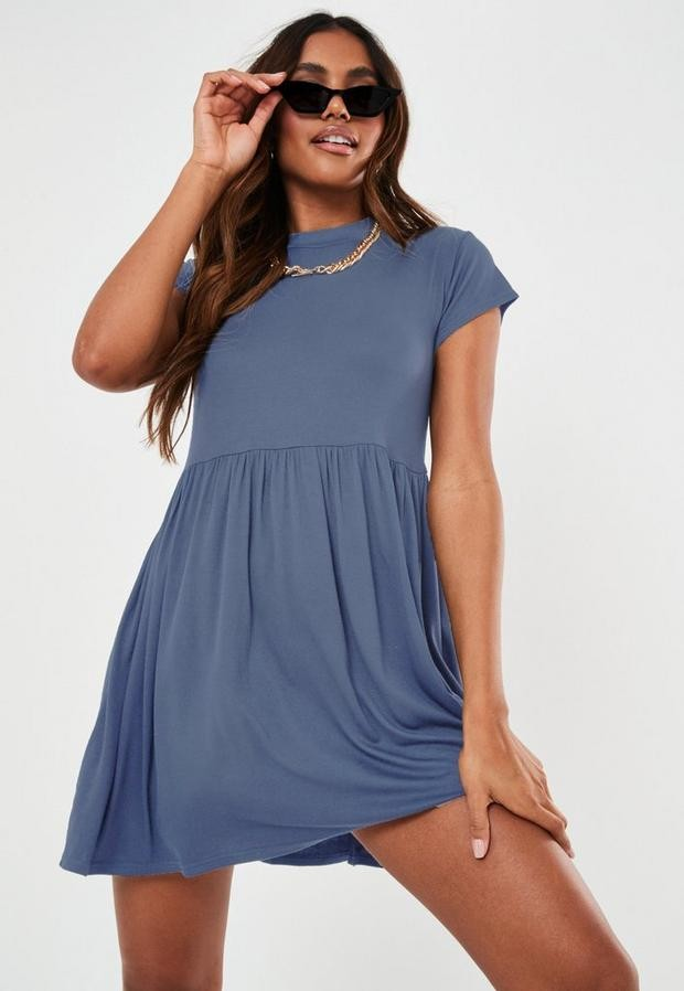 Missguided Blue Short Sleeve Smock Dress