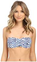 Shoshanna Pleated Waves Twist Bandeau Top