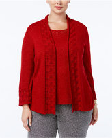 Alfred Dunner Plus Size Tis The Season Collection Embellished Layered-Look Sweater