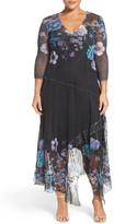 Komarov Floral Chiffon & Charmeuse A-Line Dress (Plus Size)