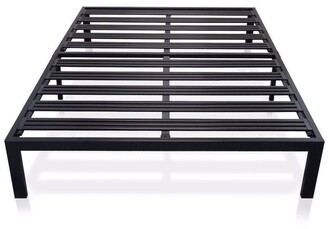 Overstock Full size Metal Platform Bed Frame with 3.86 inch Wide Heavy Duty Steel Slats - Pictured