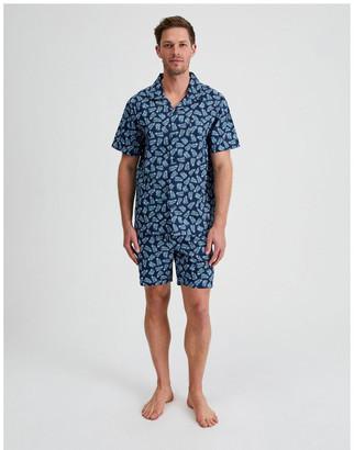 Reserve Short Sleeve Poplin PJ Set - Summer Leaves