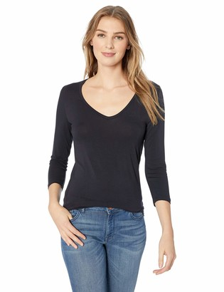 Majestic Filatures Women's Soft Touch' 3/4 Sleeve V-Neck Tee with Flat-Edge Trim