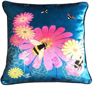 Amanda West Bumble Bees Teal Velvet Cushion