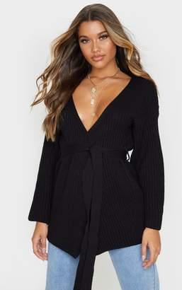 PrettyLittleThing Black Chunky Knit Wrap Cardigan