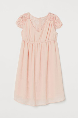 H&M MAMA Lace-yoke Dress - Pink