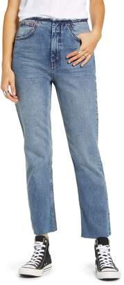 Topshop Raw Waist Straight Leg Jeans