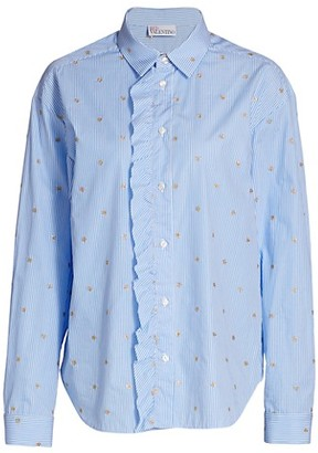 RED Valentino Ruffle Placket Poplin Top