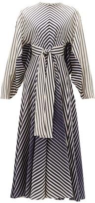 Valentino Dolman-sleeve Striped Silk-satin Dress - Womens - Navy