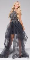 Jovani Tiered Tulle Rhinestone Halter Prom Dress