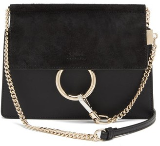 Chloé Faye Small Leather And Suede Cross-body Bag - Black