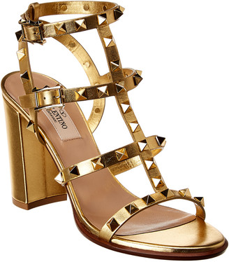 Valentino Rockstud Caged 100 Leather Ankle Strap Sandal