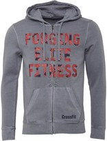 Reebok Mens CrossFit Graphic Full Zip Hoody Light Grey Heather