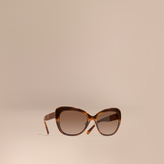 Burberry Check Detail Square Cat-eye Sunglasses