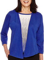 Alfred Dunner 3/4-Sleeve Stripe-Inset Layered Sweater