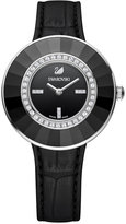 Swarovski Women's Swiss Octea Crystal Accent Dressy Black Leather Strap Watch 36mm