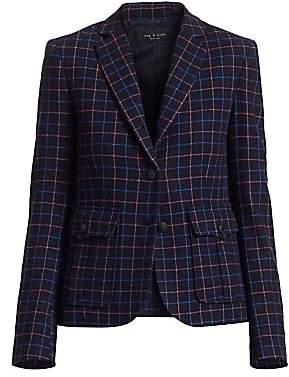 Rag & Bone Women's Nancie Virgin Wool Blend Check Blazer - Size 0
