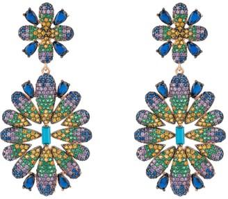 Latelita Babylon Multicoloured Flower Drop Earring Rose Gold