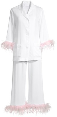 Sleeper Feather-Trim Pajama Set