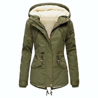 PUAMAC Women Winter Plus Size Solid Color Down Coat Long Sleeve Zipper Pocket Overcoat (Green S)