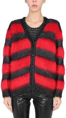 Saint Laurent Lame Striped Knit Cardigan
