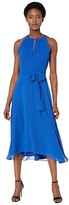 Tahari ASL Chiffon High-Low Dress with Keyhole Halter Neck (Neon Royal) Women's Dress