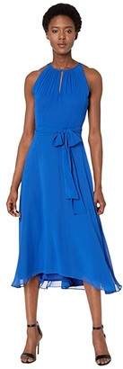 Tahari ASL Chiffon High-Low Dress with Keyhole Halter Neck (Neon Royal) Women's Dress