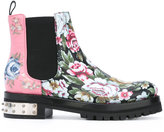 Alexander McQueen mixed floral Mod boots - women - Leather/rubber - 37