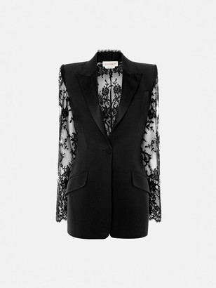Alexander McQueen Lace Sleeve Tuxedo Jacket