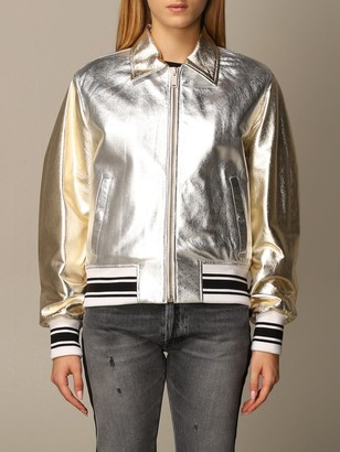 Golden Goose Bomber In Laminated Leather