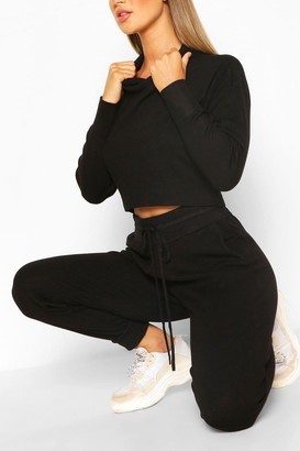 boohoo Knitted Crop Hoody & Jogger Co-ord