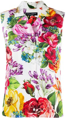 Dolce & Gabbana Floral-Print Sleeveless Blouse