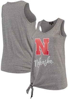 Nebraska Cornhuskers Women's Tied and True Side Tie Tri-Blend Tank Top - Heathered Gray