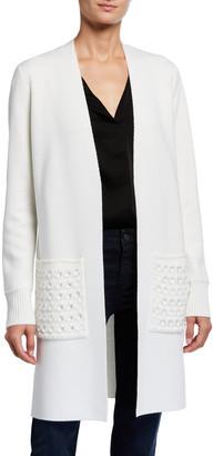 Kobi Halperin Marci Open-Front Sweater w/ Embellished Pockets