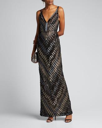 J. Mendel Chevron-Embroidered V-Neck Gown