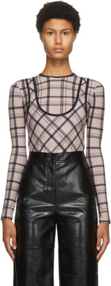 Markoo Pink The Plaid Tank Cut Bodysuit