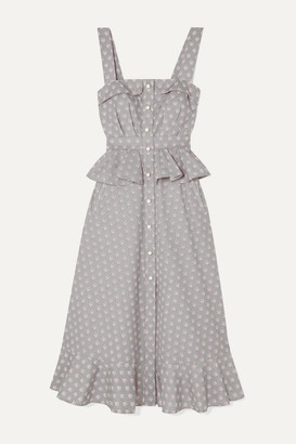 ANNA MASON Olivia Ruffled Printed Cotton Midi Dress - Gray