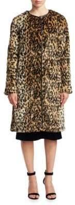 Saks Fifth Avenue Leopard Print Faux Fur Jacket