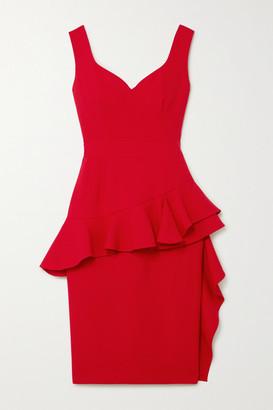 Alexander McQueen Ruffled Wool-blend Peplum Dress - Red