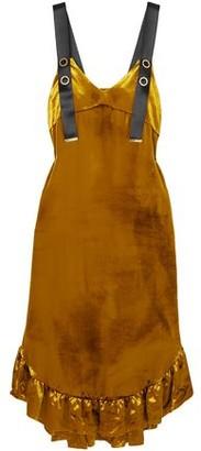 Mother of Pearl Florence Ruffled Velvet Midi Dress