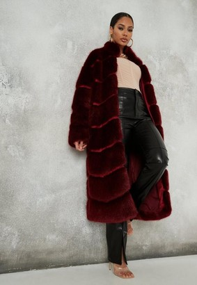 Missguided Red Faux Fur Pelted Maxi Coat