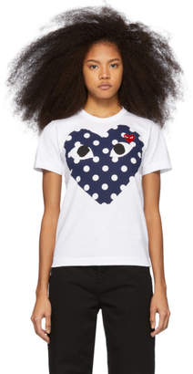 Comme des Garcons White and Red Polka Dot Heart T-Shirt