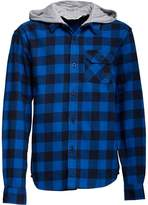 Kangaroo Poo Boys Yarn Dyed Checked Flannel Shirt With Jersey Hood Blue Check