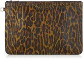 Jimmy Choo DEREK Forest Green Leopard Print Leather Mix Document Holder