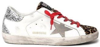 Golden Goose Superstar Sneaker in White/Brown Leo/Ice/Silver
