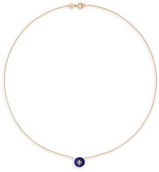 Tory Burch Kira Grey Agate & Lapis Pendant Necklace