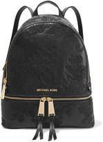MICHAEL Michael Kors Rhea Embroidered Leather Backpack - Black