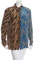 Fausto Puglisi Zebra Print Silk Blouse w/ Tags