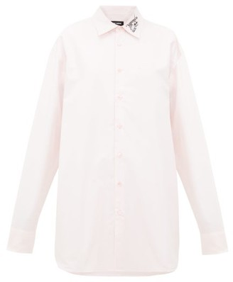Raf Simons Oversized Embroidered Cotton-oxford Shirt - Womens - Pink