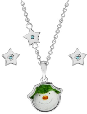 Rhona Sutton Snowman Pendant Necklace and Star Earring Set